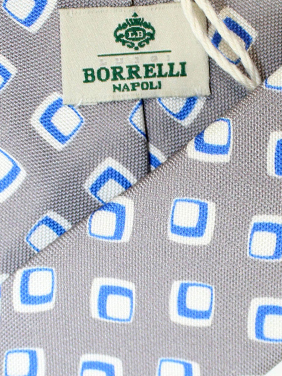 Luigi Borrelli Silk Tie Gray Royal Geometric