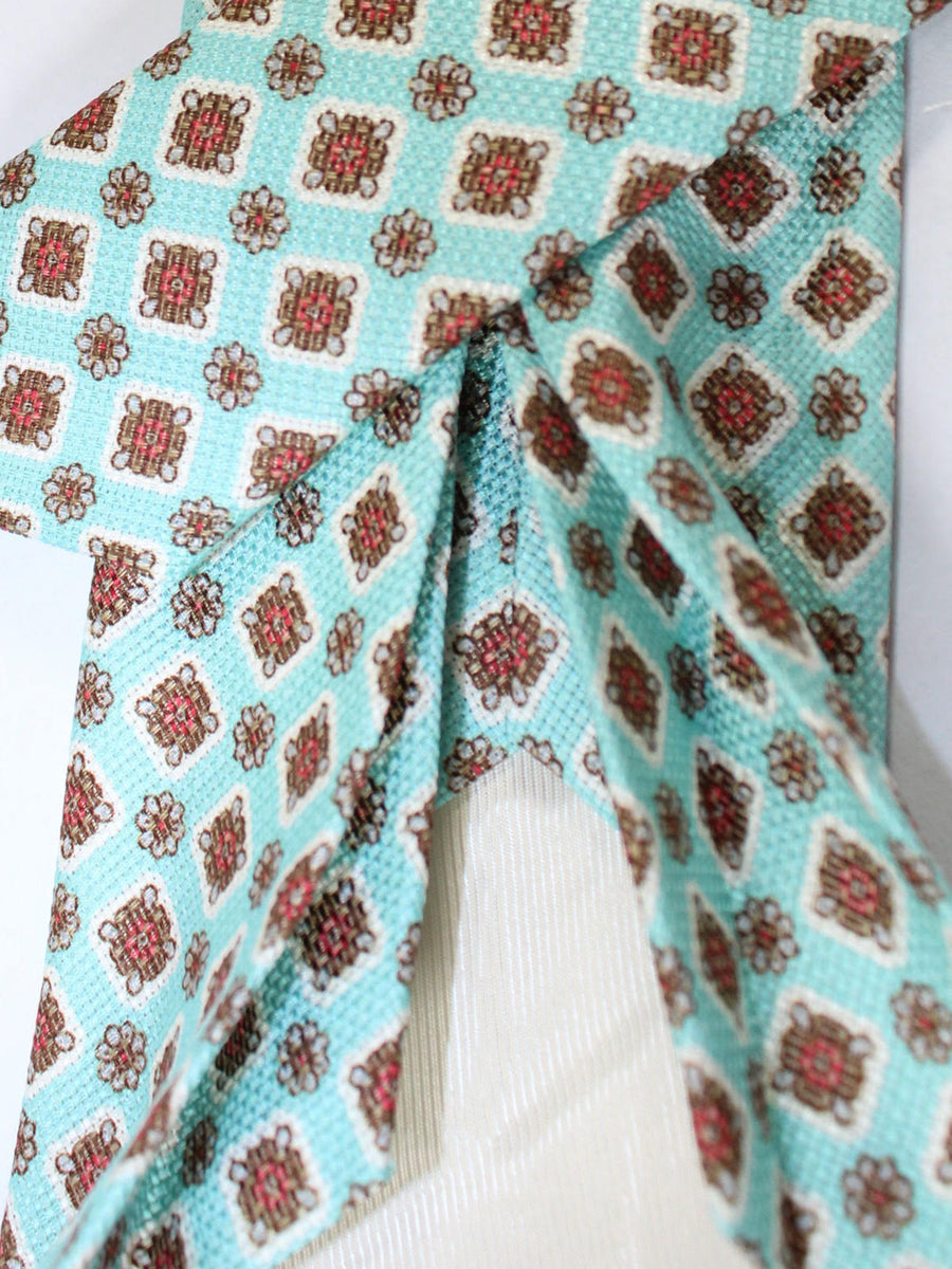 Luigi Borrelli 11 Fold Tie Aqua Brown Medallions ROYAL COLLECTION - Elevenfold Necktie
