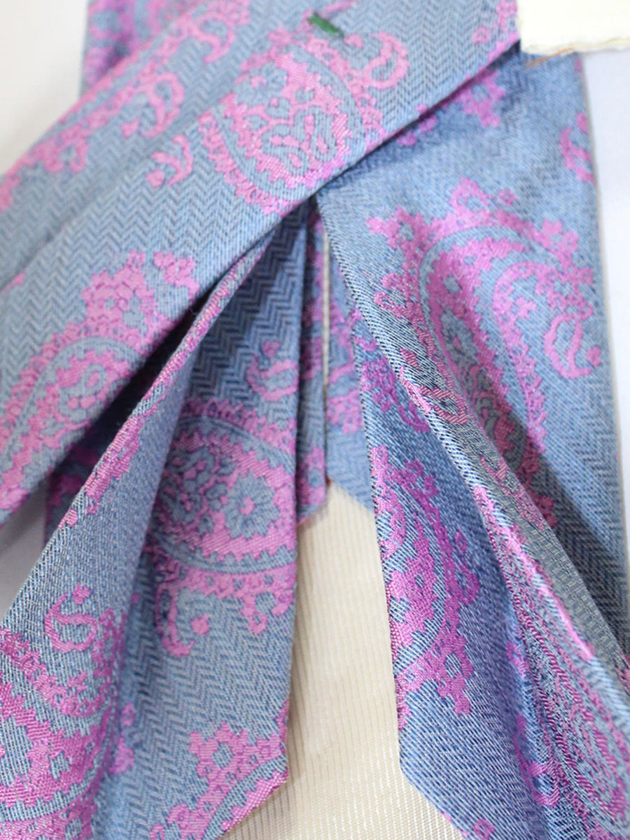 Luigi Borrelli 11 Fold Tie Gray Blue Pink Paisley ROYAL COLLECTION - Elevenfold Necktie