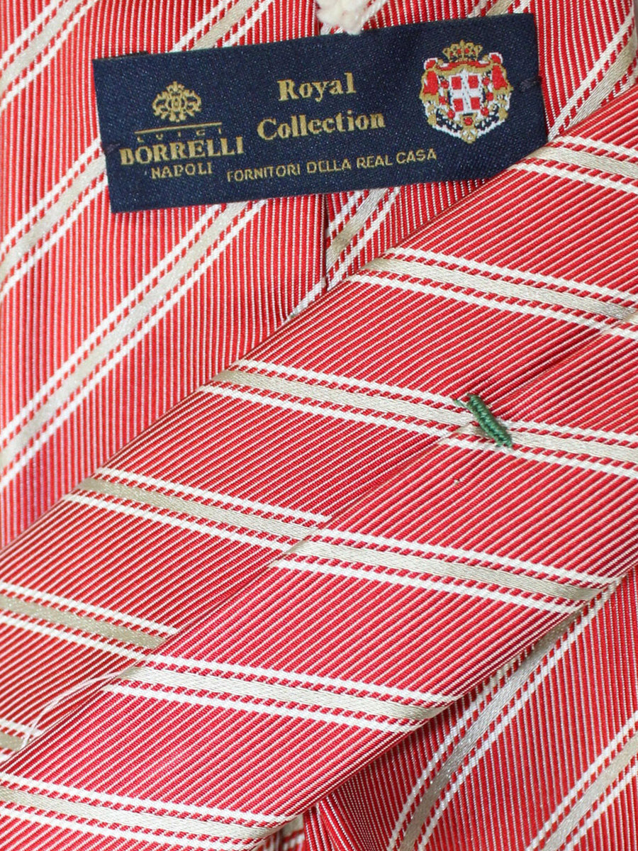Luigi Borrelli 11 Fold Tie Red Gray Silver Stripes ROYAL COLLECTION