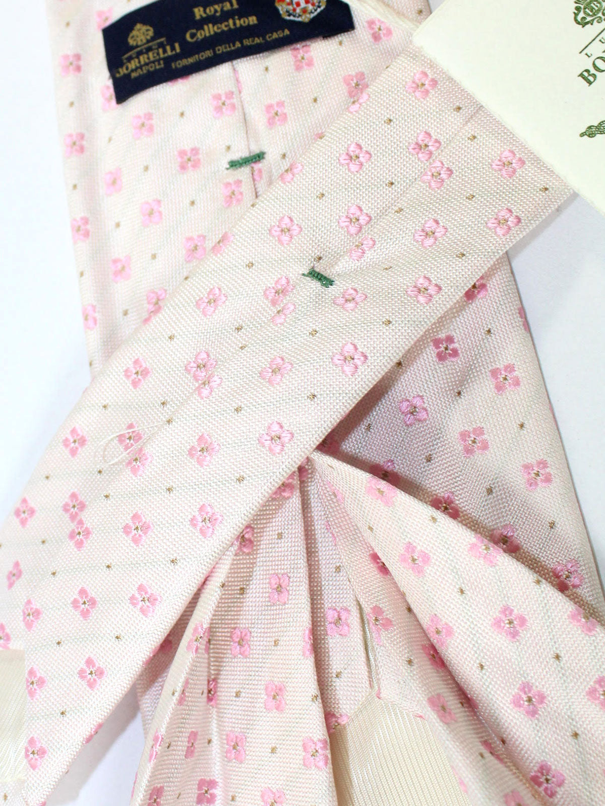 Luigi Borrelli 11 Fold Tie White Silver Pink Floral ROYAL COLLECTION - Elevenfold Necktie