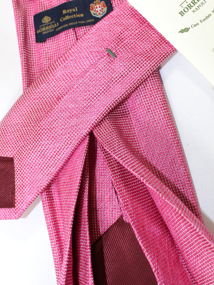 Luigi Borrelli 11 Fold Tie Cranberry Pink Micro Check ROYAL COLLECTION - Elevenfold Necktie