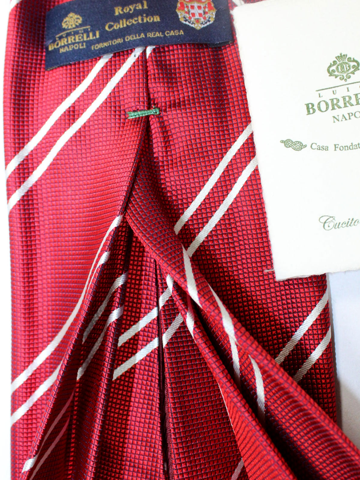 Luigi Borrelli 11 Fold Tie Dark Red White Stripes ROYAL COLLECTION - Elevenfold Necktie