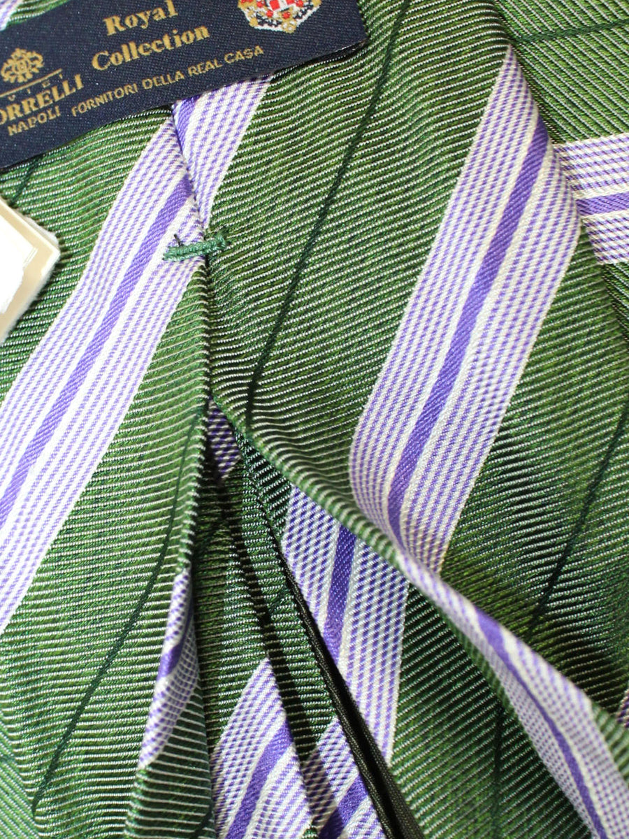 Luigi Borrelli 11 Fold Tie Green Purple Stripes ROYAL COLLECTION