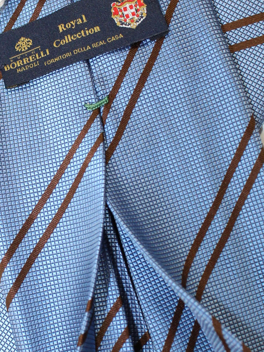 Luigi Borrelli 11 Fold Tie Dark Blue Brown Stripes ROYAL COLLECTION