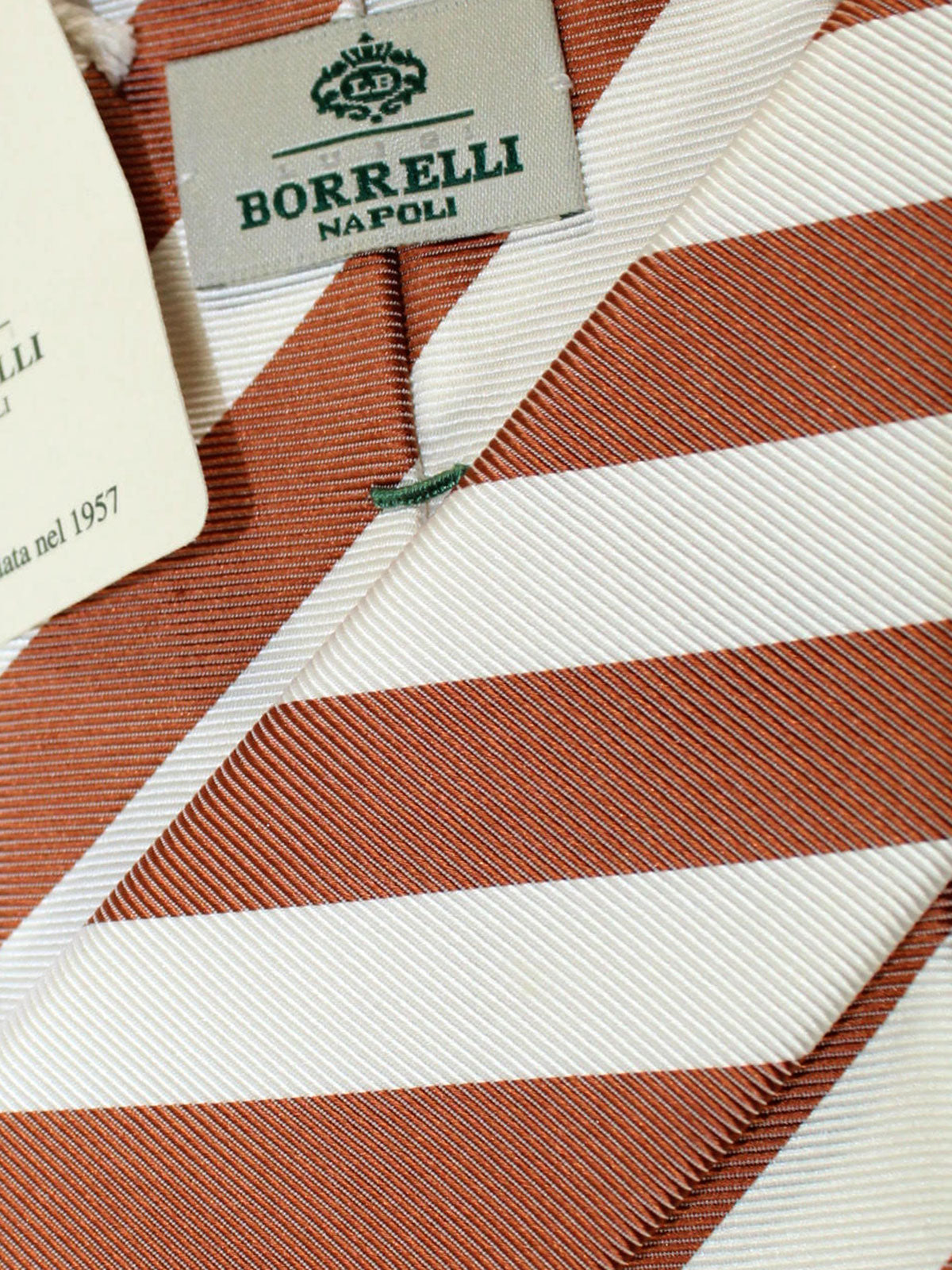 Luigi Borrelli Tie White Brown Stripes Design