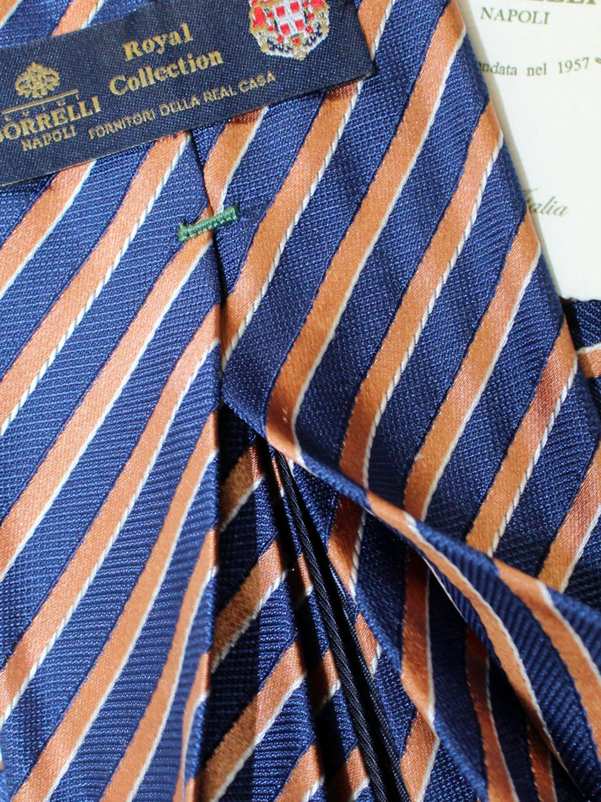 Luigi Borrelli 11 Fold Tie Navy Peach Stripes ROYAL COLLECTION