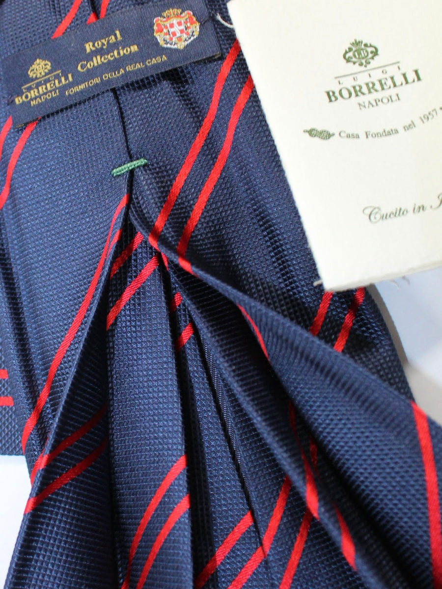 Luigi Borrelli 11 Fold Tie Navy Red Stripes ROYAL COLLECTION Elevenfold Necktie