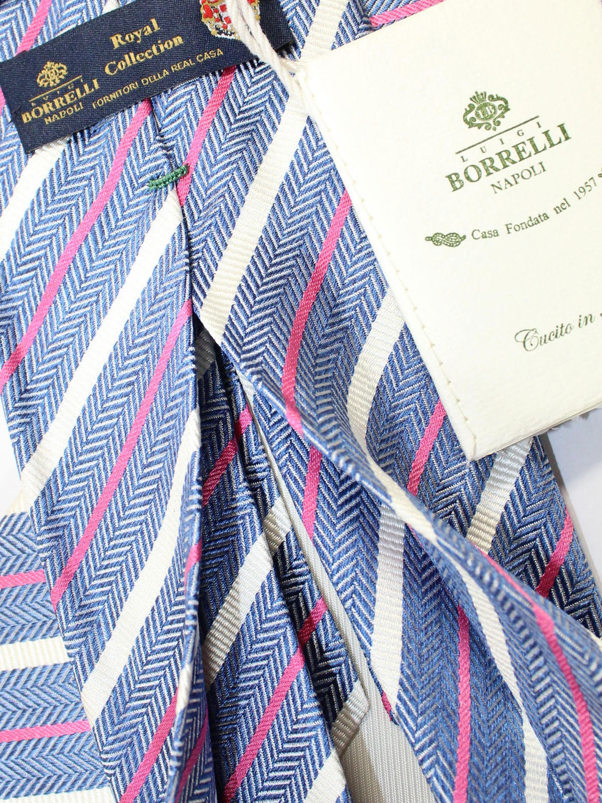 Luigi Borrelli 11 Fold Tie Navy White Silver Pink Stripes ROYAL COLLECTION Elevenfold Necktie