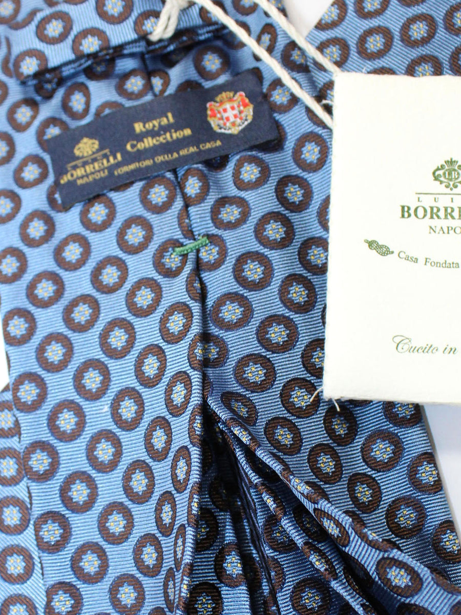 Luigi Borrelli 11 Fold Tie Blue Brown Geometric ROYAL COLLECTION Elevenfold Necktie