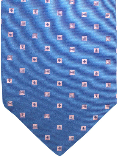 Luigi Borrelli 11 Fold Tie Navy Pink Geometric ROYAL COLLECTION Elevenfold Necktie