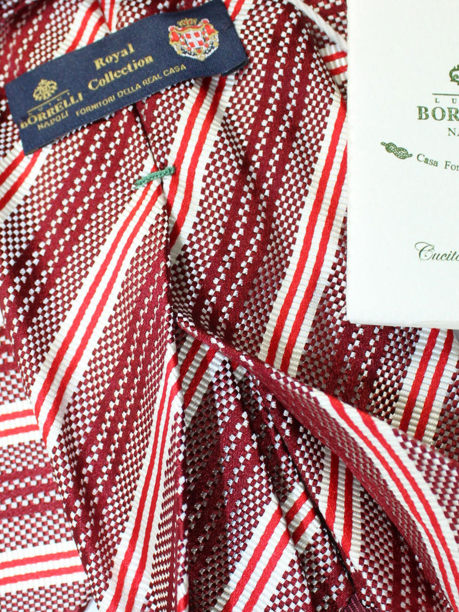 Luigi Borrelli 11 Fold Tie Maroon Red White Stripes ROYAL COLLECTION Elevenfold Necktie