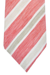 Luigi Borrelli Tie Linen Blend Pink Taupe Stripes SALE