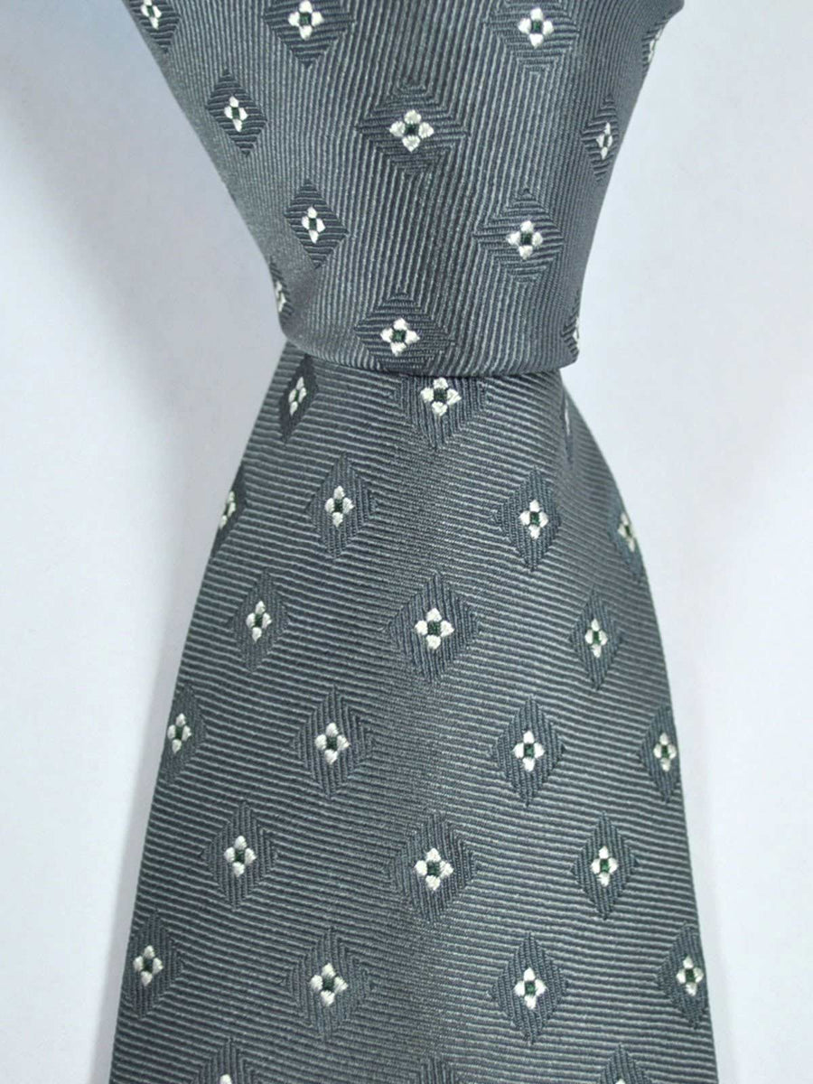 Luigi Borrelli Silk Tie Gray Silver Navy Geometric SALE