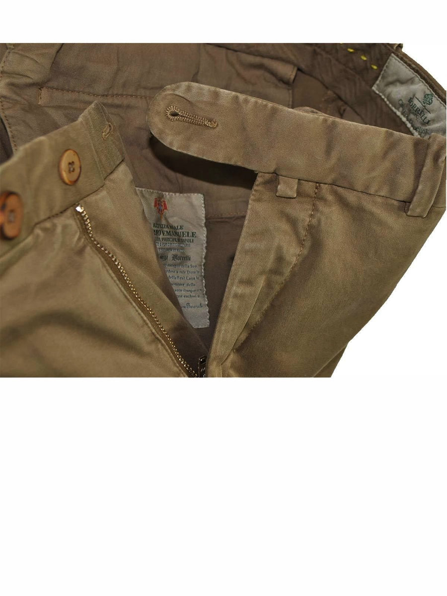 Luigi Borrelli Pants Olive Brown Trousers