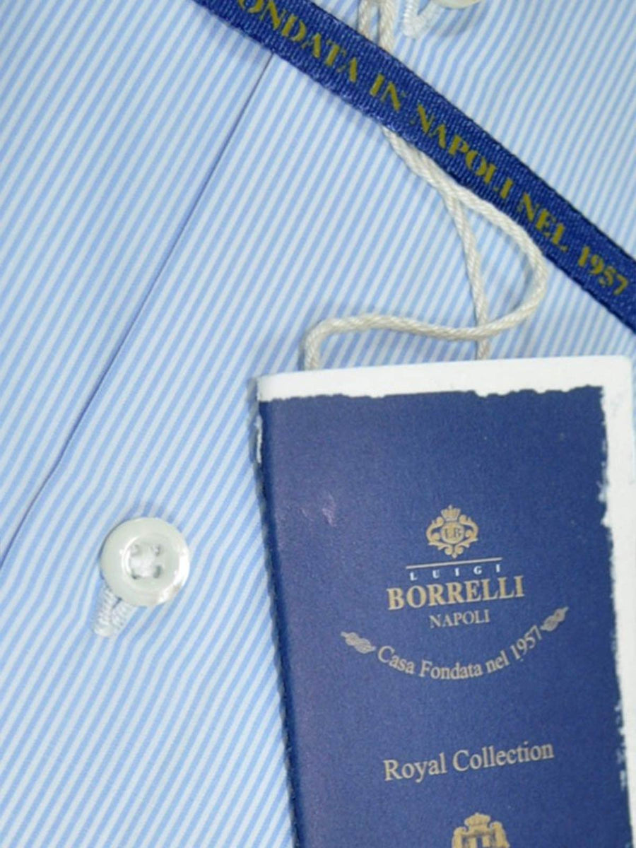 Luigi Borrelli Dress Shirt ROYAL COLLECTION White Blue Stripes Design