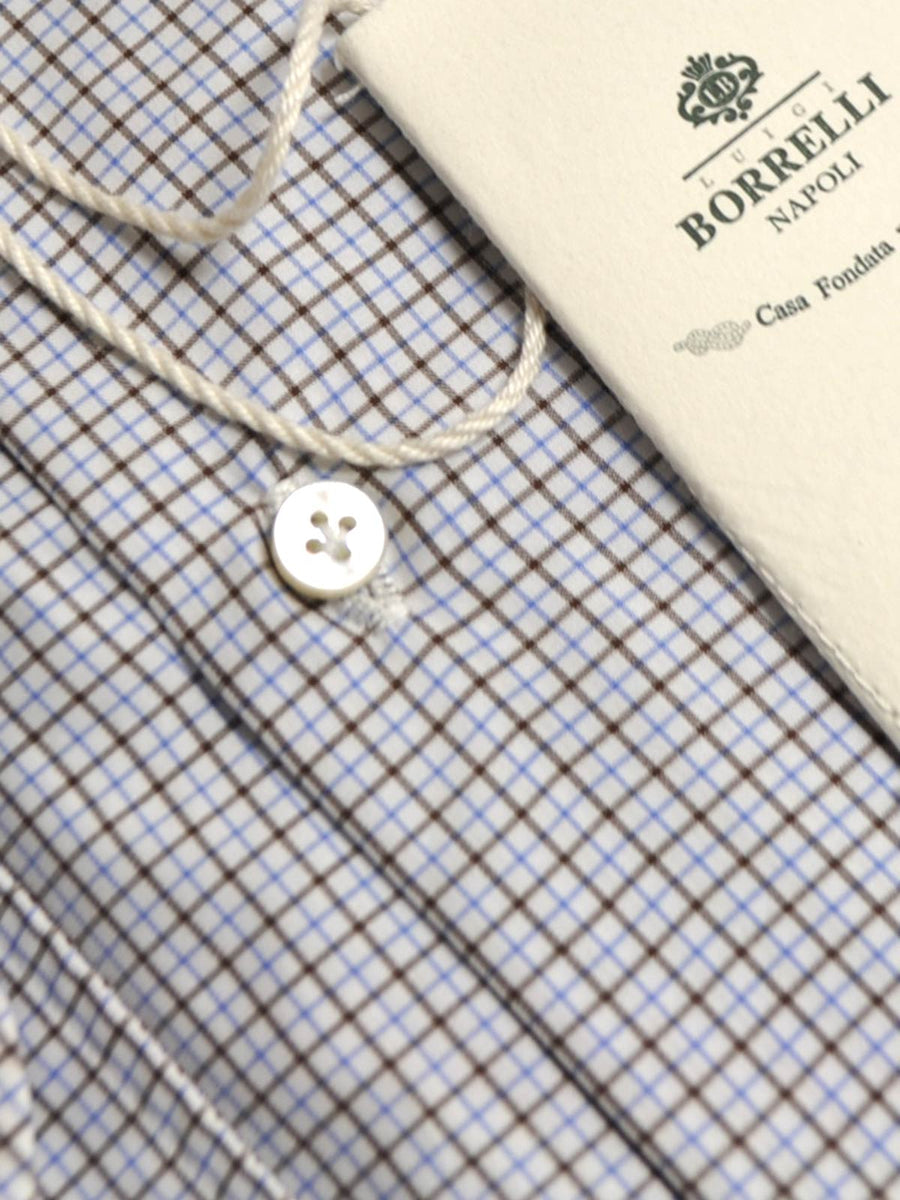 Luigi Borrelli Shirt White Blue Brown Check