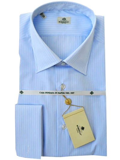 Borrelli Dress Shirt Light Blue Stripes French Cuffs