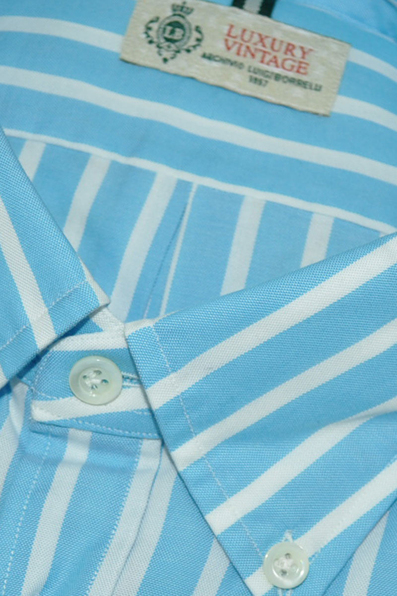Luigi Borrelli Sport Shirt Aqua White Stripes Button-Down