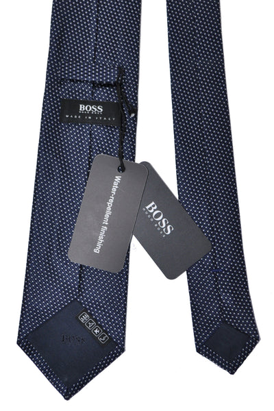 Hugo Boss Silk Tie Navy Silver
