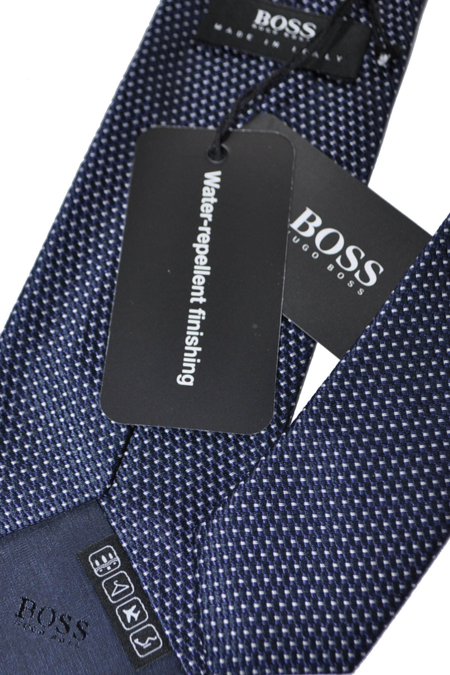 New Hugo Boss Silk Tie Navy Silver