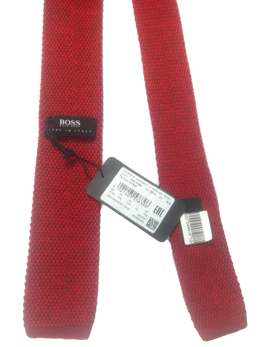 Hugo Boss Square End Knitted Tie Red FINAL SALE