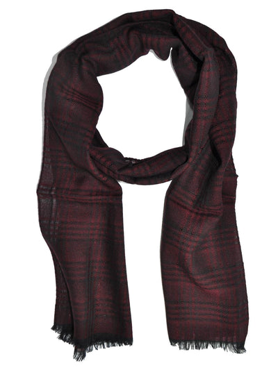 Giovanni Botticelli Wool Scarf Burgundy Black Plaid Stripes SALE