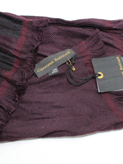 Giovanni Botticelli Wool Scarf Gray Wine Purple FINAL SALE