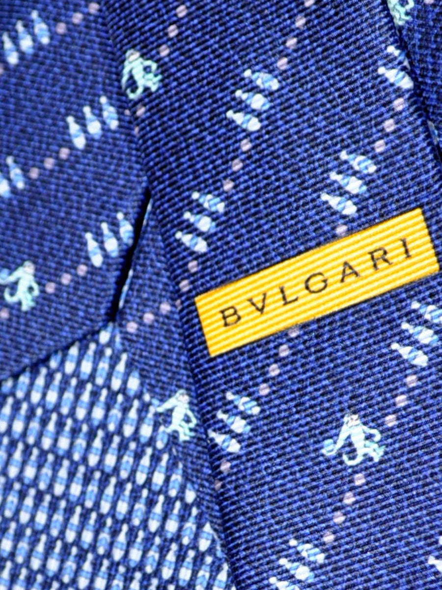 Bvlgari Sevenfold Tie Navy Bowling Monkey Novelty Tie SALE