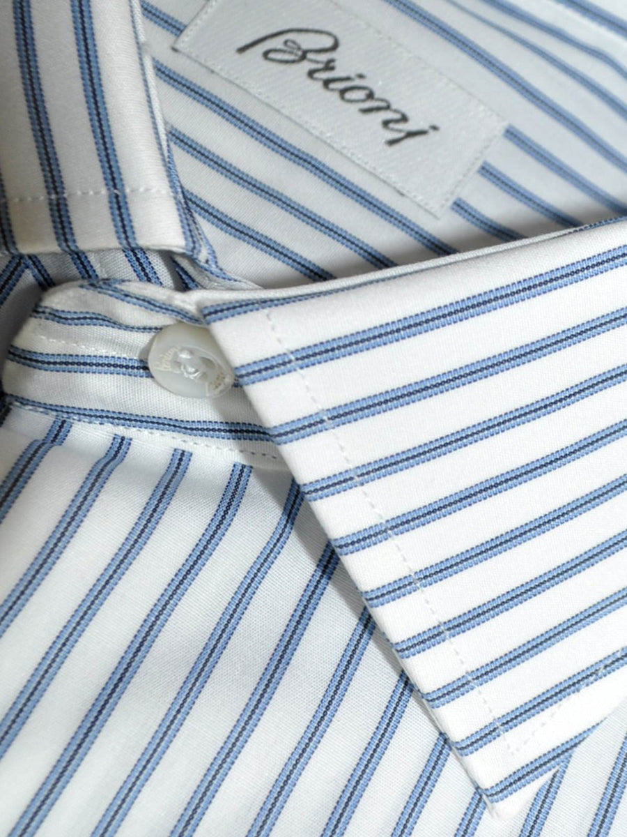 Brioni Dress Shirt White Navy Blue Stripes Slim Fit