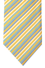 Brioni Tie Yellow Aqua Blue Stripes Design