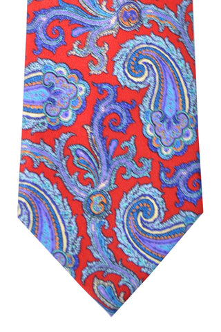 Brioni Tie Red Blue Paisley Design SALE