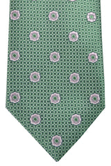 Brioni Tie Green Silver Lilac Pink Floral Design