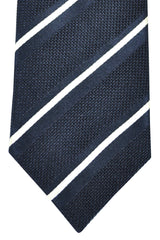 Brioni Tie Black Navy Silver Stripes Design