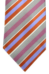 Brioni Tie Gray Copper Lavender Pink Stripes Design