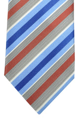 Brioni Tie Gray Rust Cream Navy Blue Stripes Design