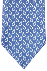 Brioni Tie Midnight Blue White Paisley Design