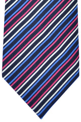 Brioni Tie Black Navy Pink White Stripes Design