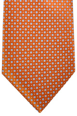 Brioni Tie Copper Brown Navy White Dots Design