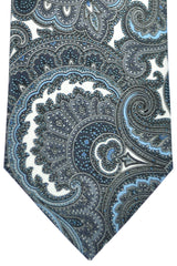 Brioni Tie White Gray Blue Design