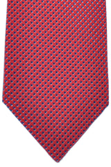 Brioni Tie Dark Red Navy Silver Diamonds Design