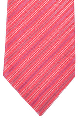 Brioni Tie Pink Gray Silver Plum Stripes Design