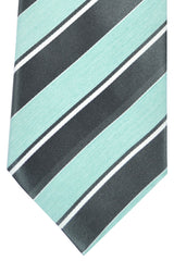 Brioni Tie Dark Gray Silver Mint Stripes Design