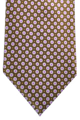 Brioni Tie Brown Lilac Geometric Design