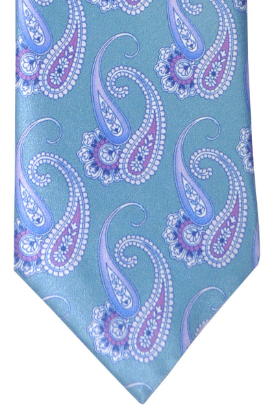 Brioni Tie Green Sage Purple Paisley Design