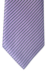 Brioni Tie Purple Pink Black Silver Stripes Design