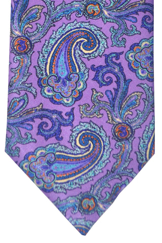 Brioni Tie Purple Sky Blue Paisley - Wide Necktie SALE