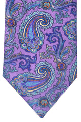 Brioni Tie Purple Sky Blue Orange Paisley Design