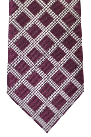 Brioni Tie Maroon Silver Windowpane Stripes