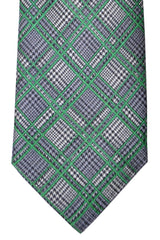 Brioni Silk Tie Turquoise Gray Green Plaid